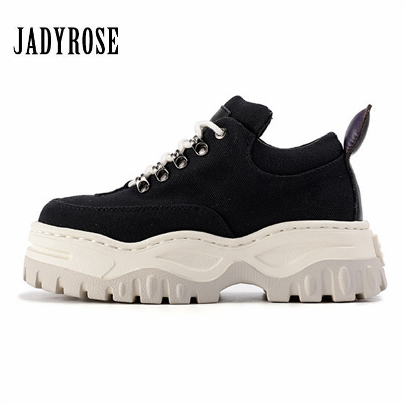 Jady Rose Women Casual Sneakers Lace Up Platform Creepers Female Casual Flat Shoes Woman Tenis Feminino Espadrilles Flats instantarts flat shoes women breathable cute cartoon elephant sneakers footwear female casual lace up air mesh flats woman shoes