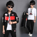 2016 Big Boy Clothing Set Kid Cotton Three Piece Print Coat + Long Sleeve T-shirt + Pants Autumn Children Fashion Clothes Suit