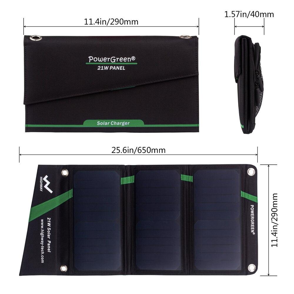PowerGreen Solar Mobiele Lader 21 Watt Opvouwbare Zonnepaneel Power Bank Externe Batterij voor Xiaomi voor LG Telefoons (Rood) - 2