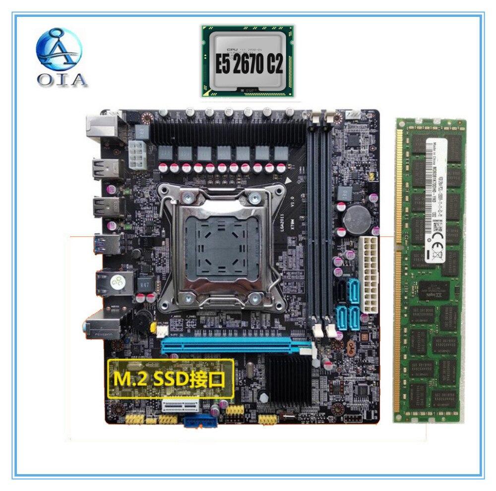 Новая материнская плата X79 с E5 2670 C2 + 32 г комплект Оперативная память M.2 SSD порт ddr3 Ecc поддержка Оперативная память LGA 2011 материнская плата 7,1 ау