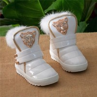 Kids Shoes Children Fashion New Boots Thicken The Girls Really Rabbit Plush Warm Leopard Baby Snow