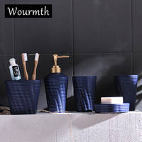 Wourmth Nordic Matte ceramic wash five sets of bathroom products Simple white wash set bathroom Lotion bottle Toothbrush cup se