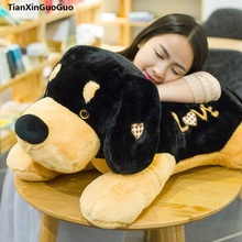stuffed toy cute prone dog large 70cm black&brown love dog plush toy soft doll throw pillow birthday gift s0209
