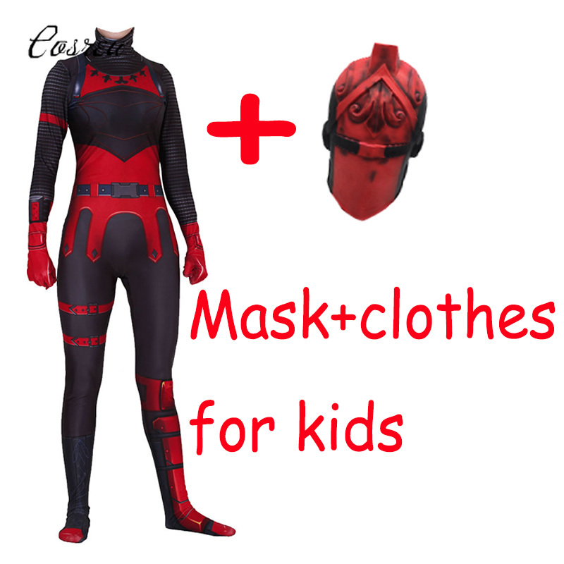 Game Fortnight Cosplay Onesie Kids Bodysuits One-piece Costume Red Knight Zentai Jumpsuits Fortnight Mask Spandex Catsuit Latex