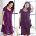 New 2016 round neck silk women's sleepwear with short sleeves lace sexy pajama set Free home delivery