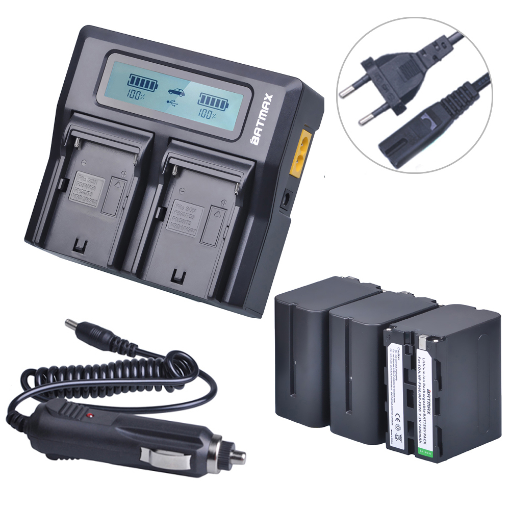 Batmax 3pc NPF960 NPF970 NP F960 NP F970 NP-F970 Battery+LCD Rapid Dual Charger for Sony F975 F970 F960 F950MC1500C 190P 198P