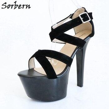 4358d4cdc Sorbern negro tacones altos sandalias mujeres 17 Cm tacones gruesos 7 Cm  plataforma pista zapatos verano señoras zapatos tamaño 43 imagen Real sin  ...