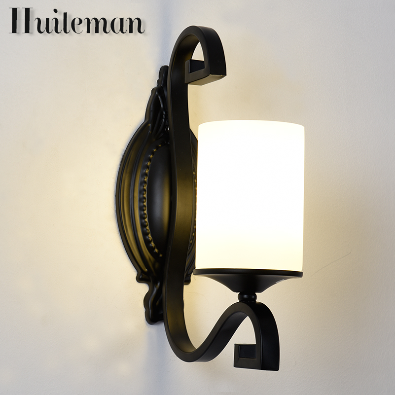 Huiteman Sconces Wall Lamp Bedroom For Bedside Lamp White Color Glass Shade LED Indoor Home Dining Room New Classical Wall Light modern acrylic led wall lights bedroom bedside wall lamp lampara de pared bed room decoration lighting wall sconces
