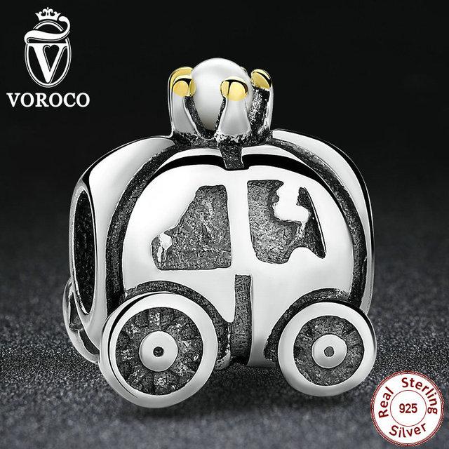 Original 925 sterling silver royal carriage carro branco pérola encantos fit pandora pulseiras pingentes fazer jóias s028