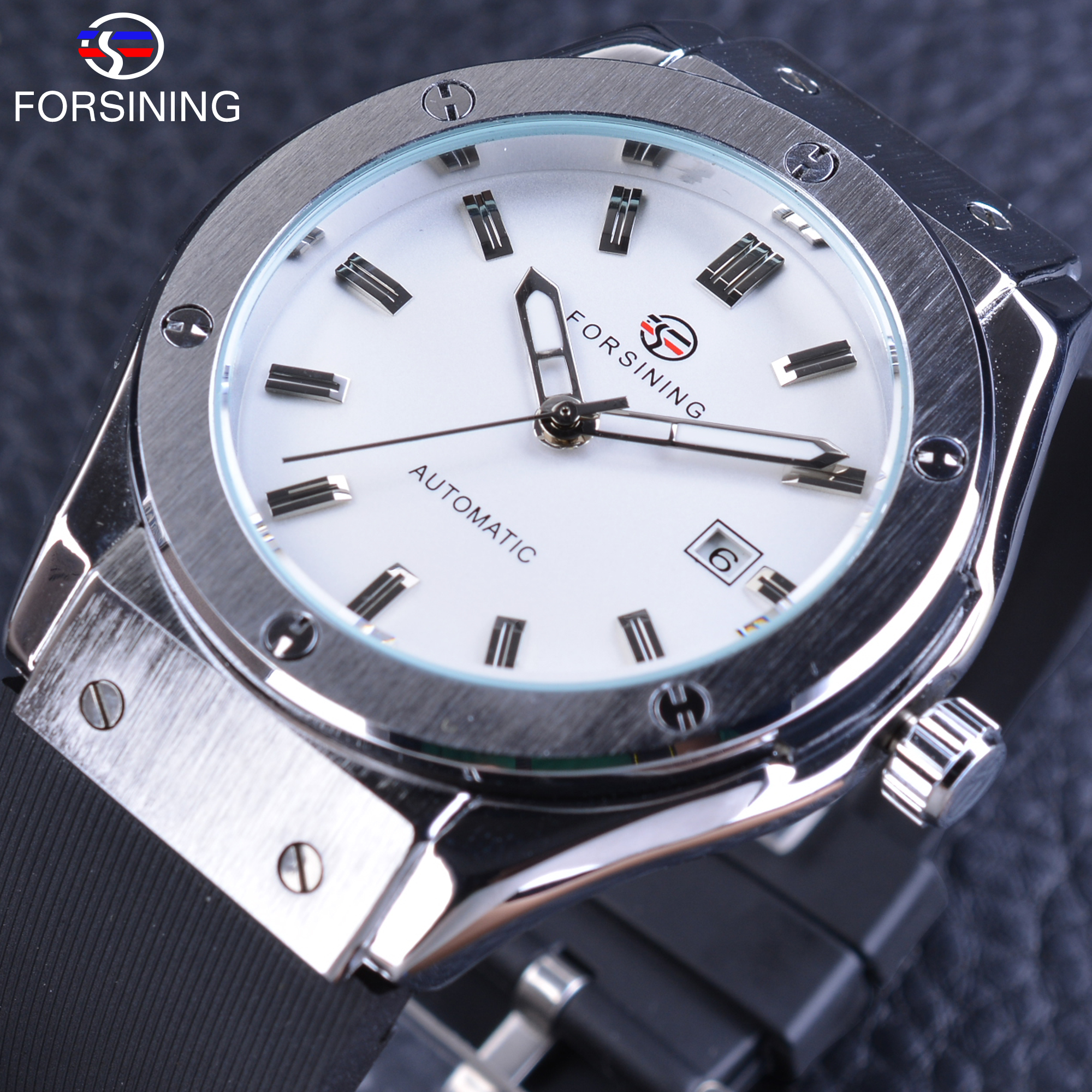 Forsining White Dial Sport Watch Mechanical Watches for Men Silver Stainless Steel Calendar Display Silicone band Clock Male golden silver transparent hollow dial quartz men wrist watch stainless steel band casual sport watches man analog male clock gif