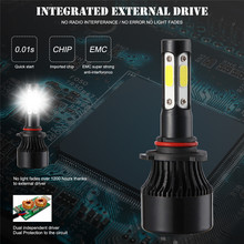 4-sides 9005/HB3 170W 255000LM Pure White 6500K COB LED Headlight Bulb Conversion Fog Light HID  LED Headlight Bulbs