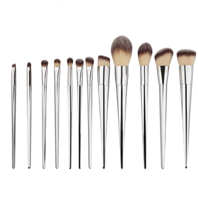 12Pcs Gold / Silver Professional Makeup Brush Set Face Blush Powder Brush Contour Brush Foundation Eyeshadow Cosmetic Brush new design stamp seal shape face makeup brush foundation powder blush contour brush cosmetic facial brush cosmetic makeup tool