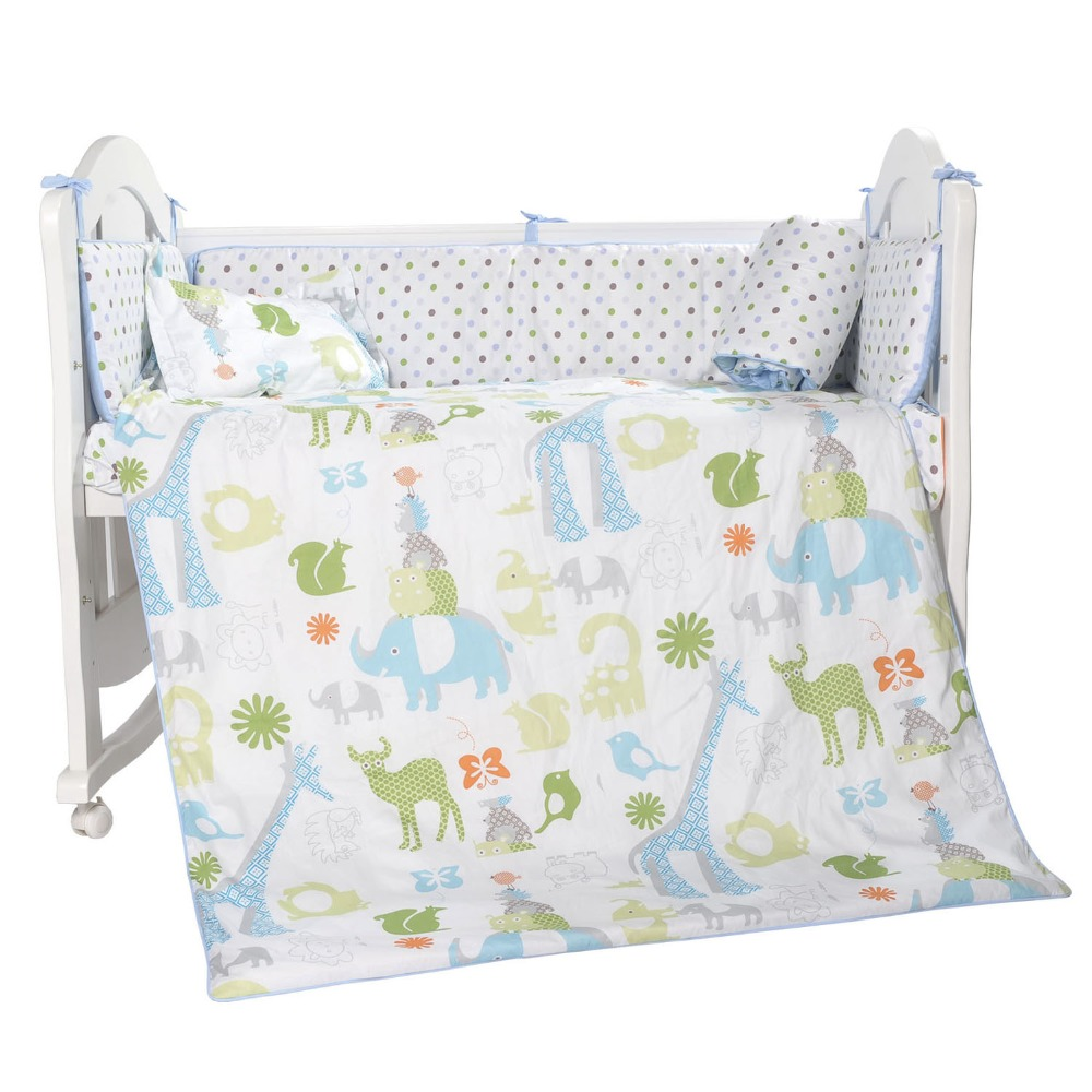 i-baby Newborn Baby Infant Crib Bedding Set 3pcs Jungle 100% Cotton Printed Cot Sheet Duvet Pillow Sets in Crib for Girl & Boy guess printed hard guhcp6juf jungle