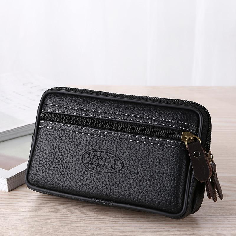 Small Phone Coin Men Belt Waist Bag Double Zipper Waterproof Large Capacity 2019 Murse PU Leather Waterproof Multi-function Pack