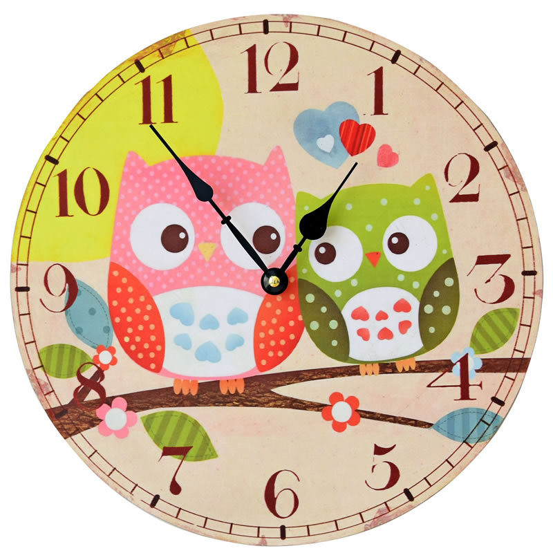 New Sale Cartoon Printed Hanging Type Wall Clock Round Wooden Separate  Needle Watch For Home Decoration