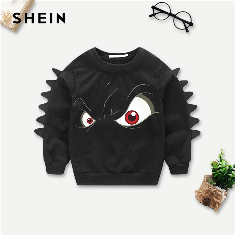 SHEIN Black Cartoon Toddler Boys Eye Print Children Sweatshirts For Girls Tops 2019 Fashion Long Sleeve Pullover Kids Sweatshirt retro style v neck long sleeve ethnic print self tie belt dress for women