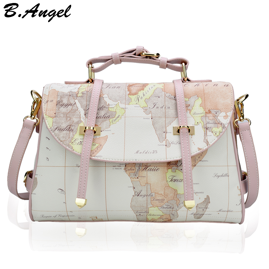 High quality world map men women messenger bags fashion women handbag designer school bags shoulder bag