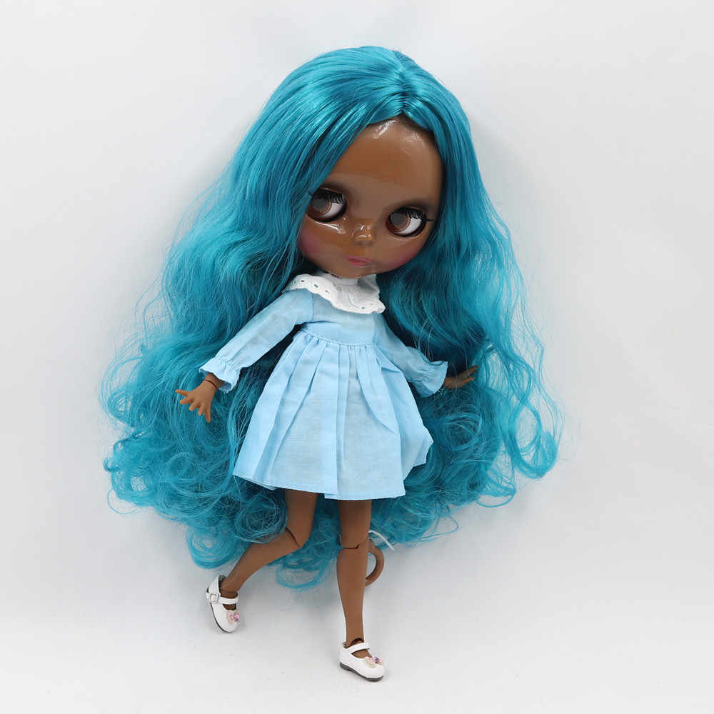 Blyth doll nude 1/6 No.BL4302 doll with super black skin and long blue curly hair glassy face, joint body