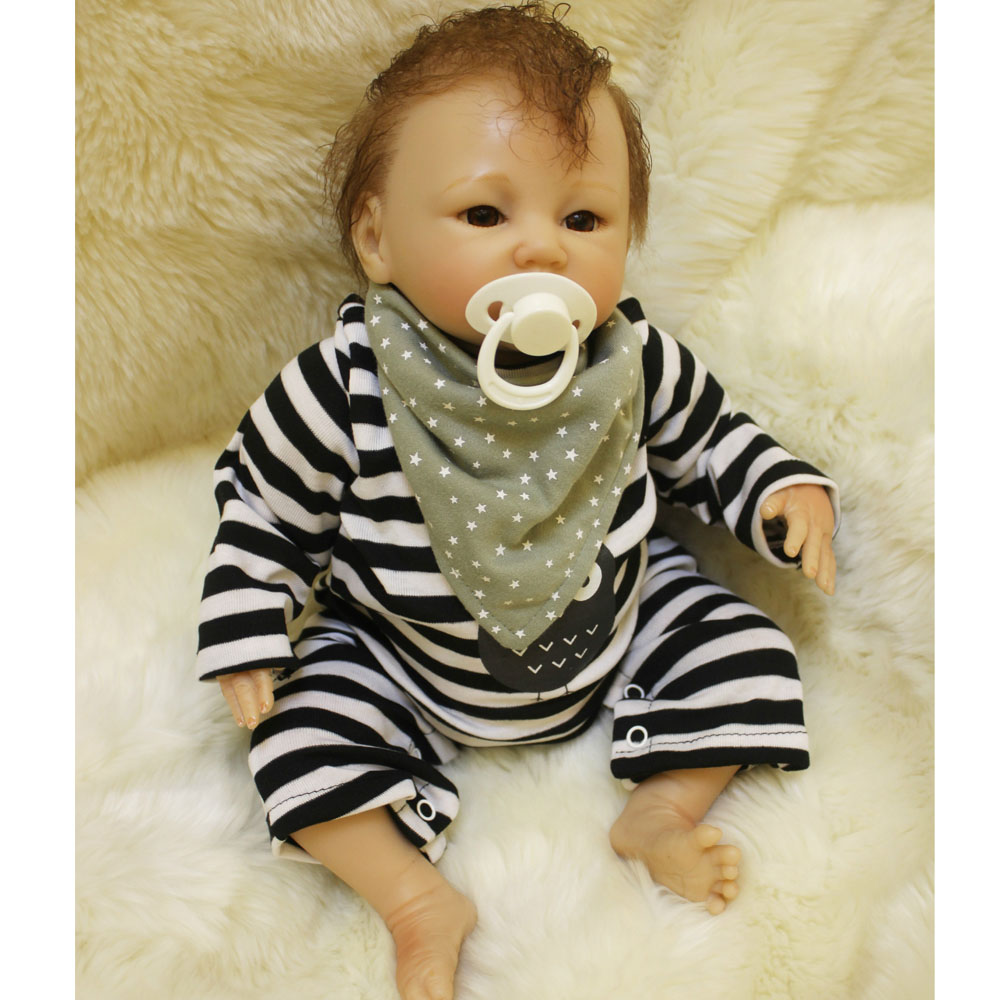 40-45CM Silicone Doll Reborn Baby boy realistic Handmade Cloth Body Reborn Babies Doll Toys Baby Growth Partners Best kids Gift partners cd