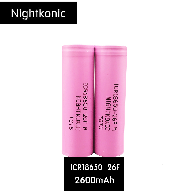 Original NIGHTKONIC 1 PCS LOT 3 7V 2600mAh Li ion 18650 Rechargeable battery ICR18650 26F for power bank flashlight E Cigarette in Replacement Batteries from Consumer Electronics