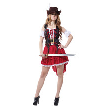 Adult Womens Sexy Swashbuckler High Seas Pirate Costume Halloween Purim Carnival New Year Masquerade Fancy Party Dress