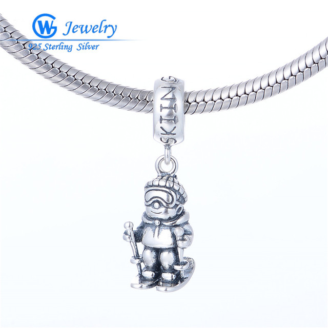 Silver Micro Pave Charms With S925 Charm 2016 Winter SKIING Charm 925 Sterling Silver Charm Fine Jewelry Bracelets DIY S457H20