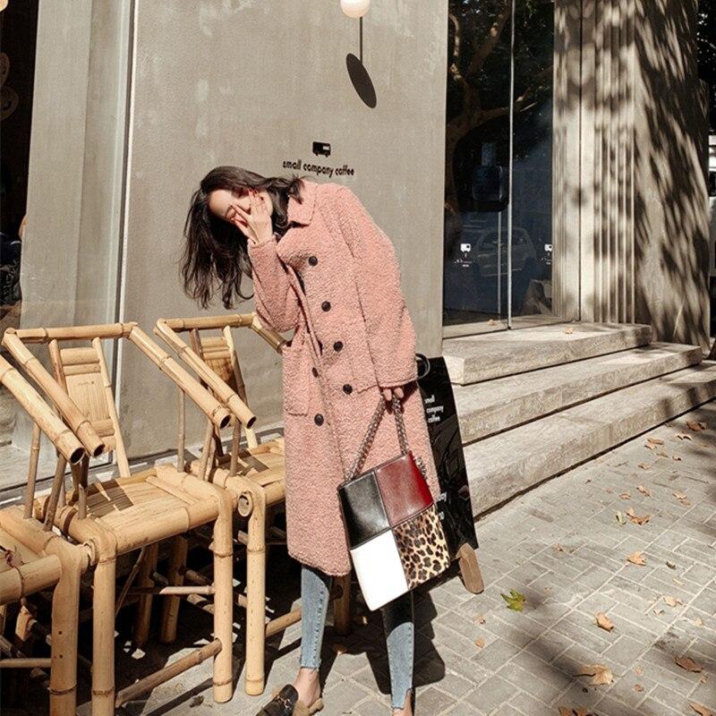 Mantel Chic Lange Zweireiher Lamm Rosa 2018 Woolen Mode Neue Casualjacket Schleife Herbst Lose Winter Hepburn H4XBpzTq