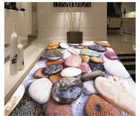 Custom photo wallpaper 3d flooring Waterproof self adhesion mural Colored cobblestone floor tile wallpaper living room decor