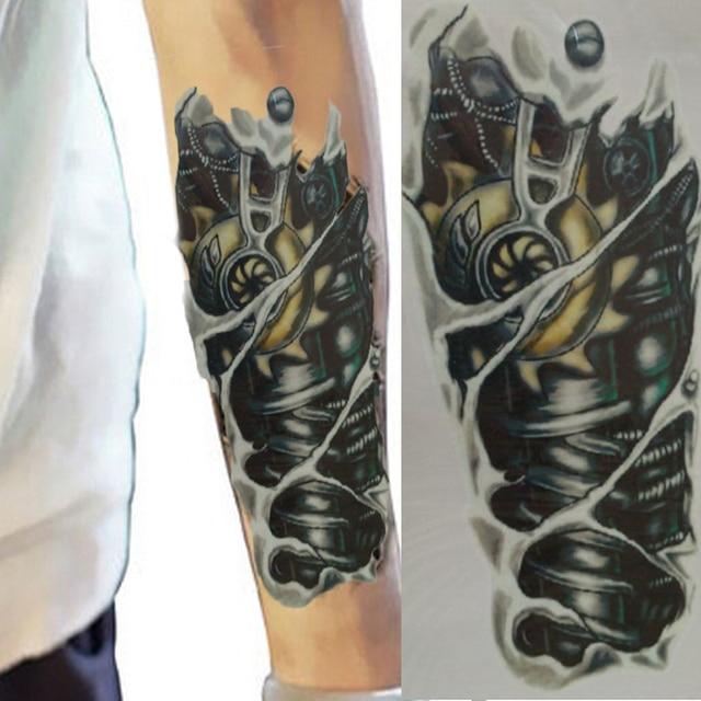 2 Piezas 3d Manga Del Tatuaje Para Hombre Robot Patrón Impermeable