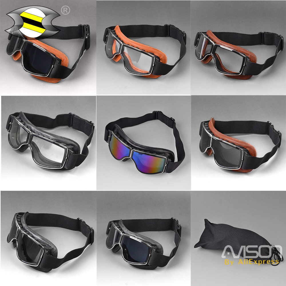 Helmet Goggles Motorcycle Goggle Vintage Glasses Pilot Biker Leather for Harley Triumph Motorcycle Bike ATV Goggle Multi Clour