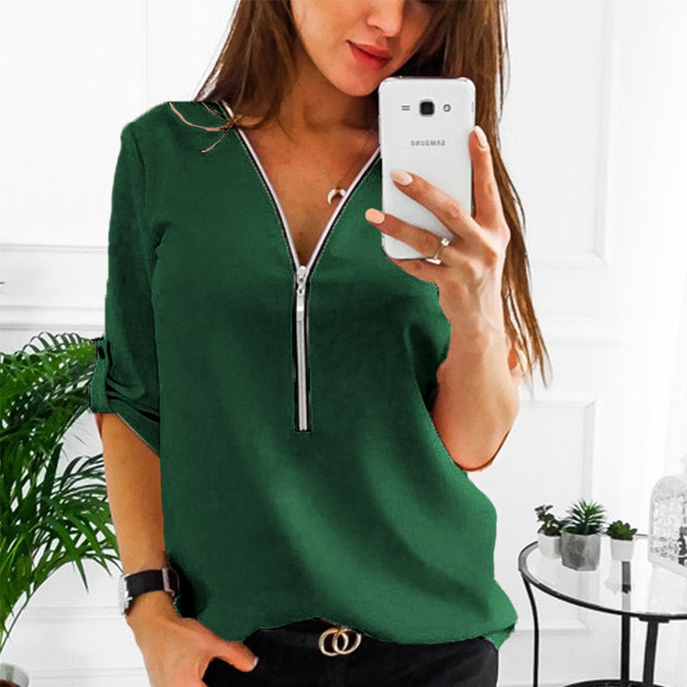 71a962d986291 AliExpress Big Size Long Sleeve Solid Green Women Shirts Casual Zipper V  Neck Ladies Office Tops Blouses
