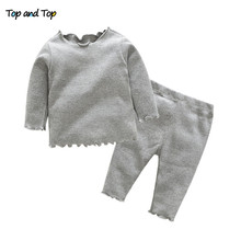 Top and top baby girl clothes baby clothing set autumn long sleeve t shirt+pants 2pcs baby tracksuit casual baby clothes cheap COTTON REGULAR O-Neck Baby Girls Fits true to size take your normal size Sets Pullover Worsted t0644 Full Solid newborn baby girl clothes