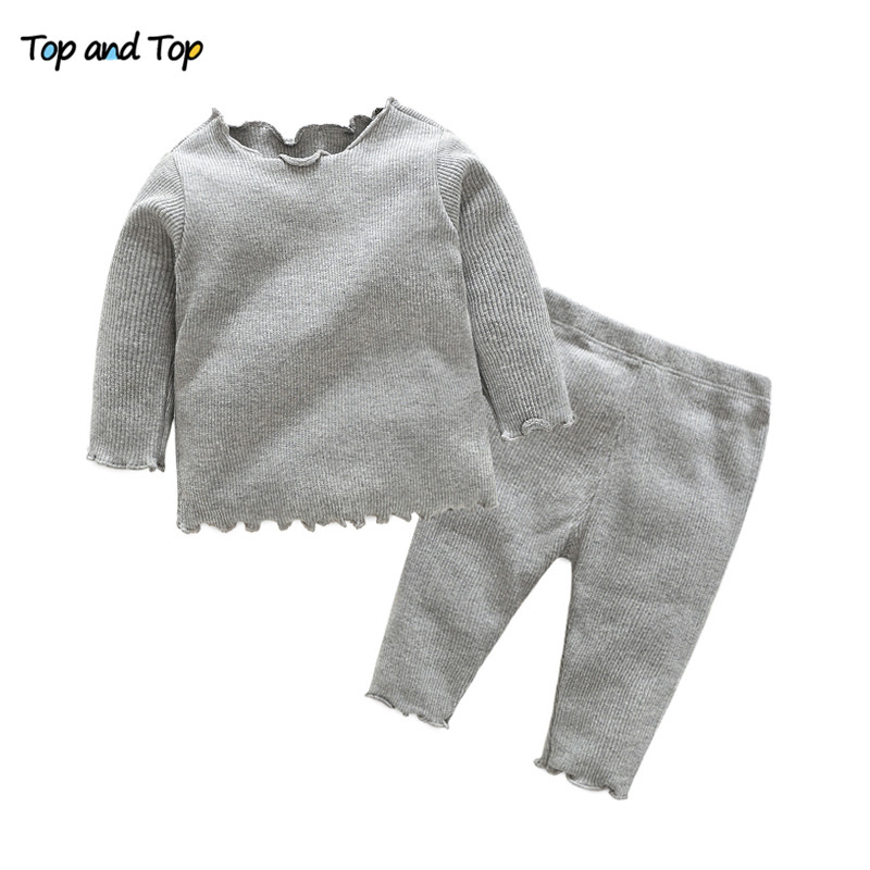Top and top baby girl clothes baby clothing set autumn long sleeve t shirt+pants 2pcs baby tracksuit casual baby clothes fashion baby girl t shirt set cotton heart print shirt hole denim cropped trousers casual polka dot children clothing set