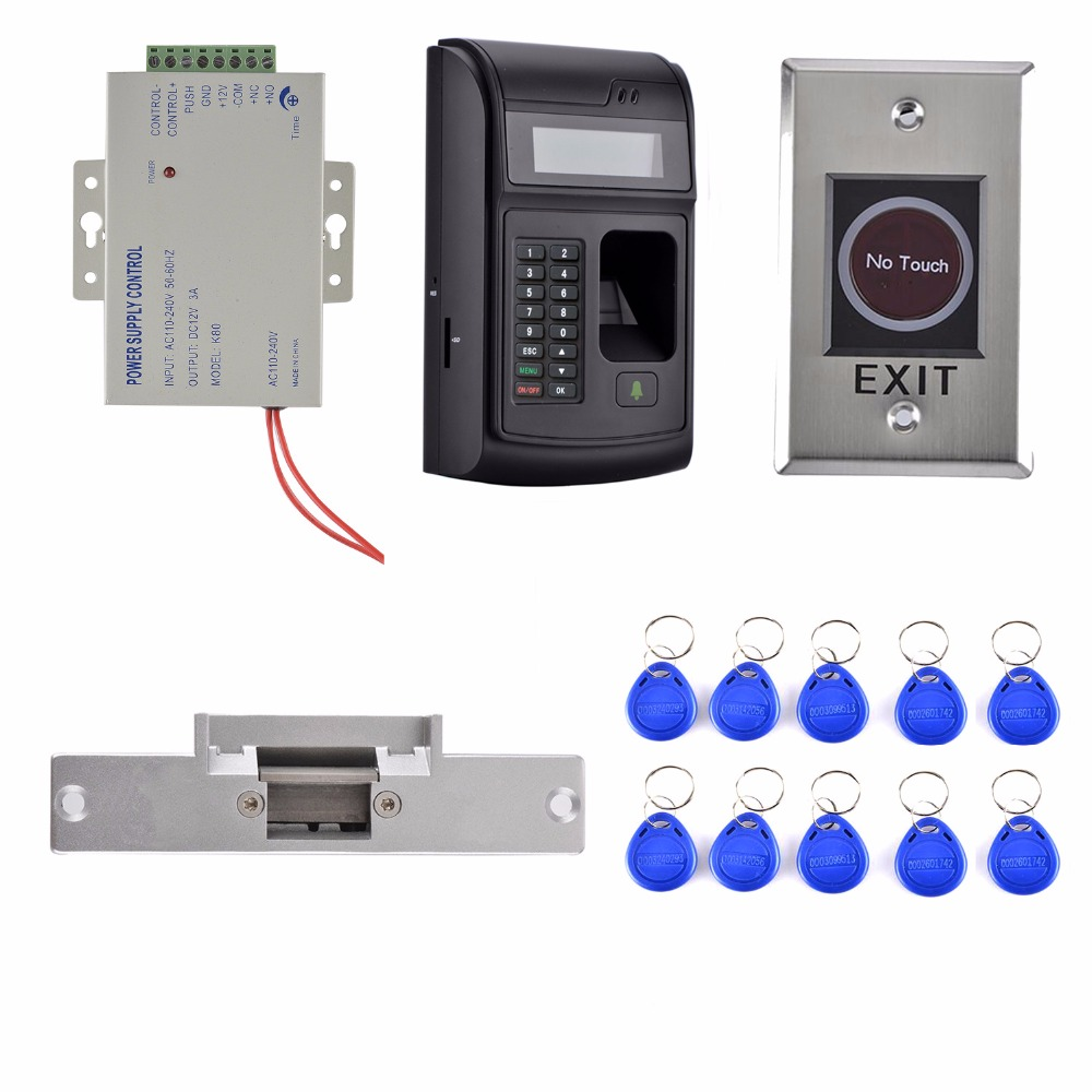 Strike Door Lock +Power Supply+3000 Users LCD Fingerprint 125KHz RFID ID Card Reader Door Lock Fingerprint Access Control Kit цена