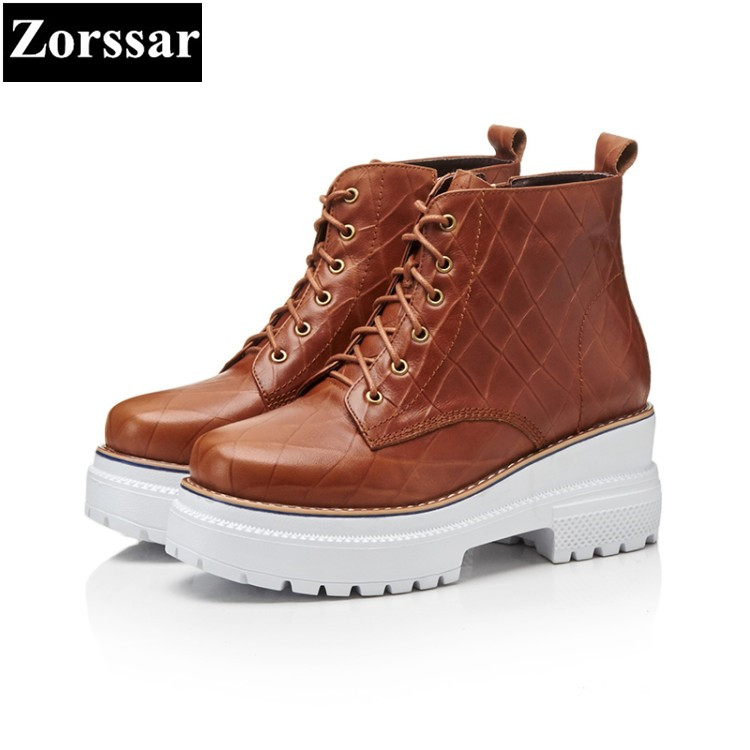 {Zorssar} 2018 Spring Autumn women shoes ankle boots High heel platform Shoes Fashion Vintage Casual lace up Womens Martin boots