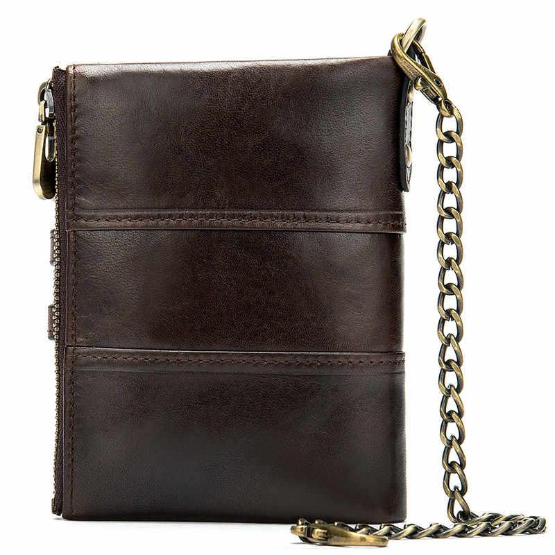 PNDME мужской и женский кошелек из натуральной кожи, винтажный Противоугонный брелок, мульти-удостоверение личности, двойная молния, кошельки для монет