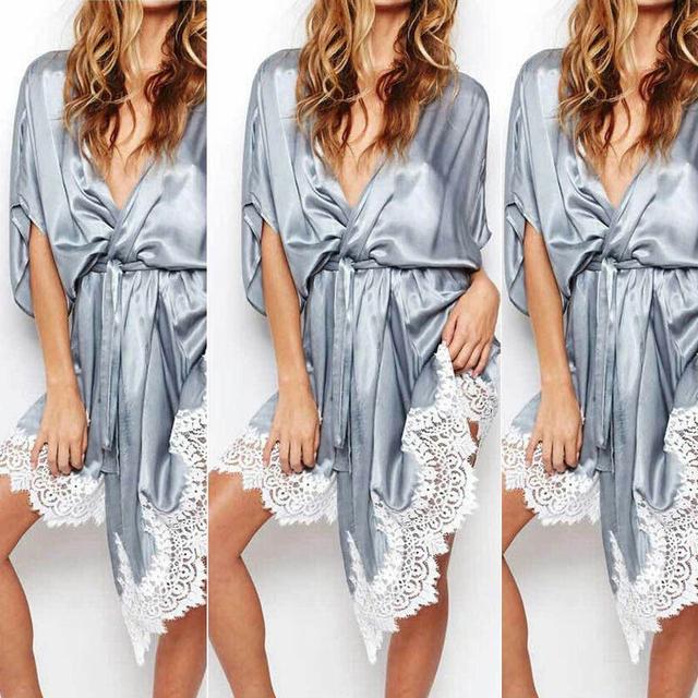 5Colors Sexy Satin Lace Kimono Intimate Sleepwear Robe Night Gown Sleepwear Women Night Dress Plus Size