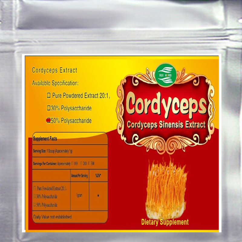 Cordyceps Sinensis Extract 50% Polysaccharides Powder 17.6 oz (500g)  free shipping citrus extract hesperidin powder 1kg bag free shipping