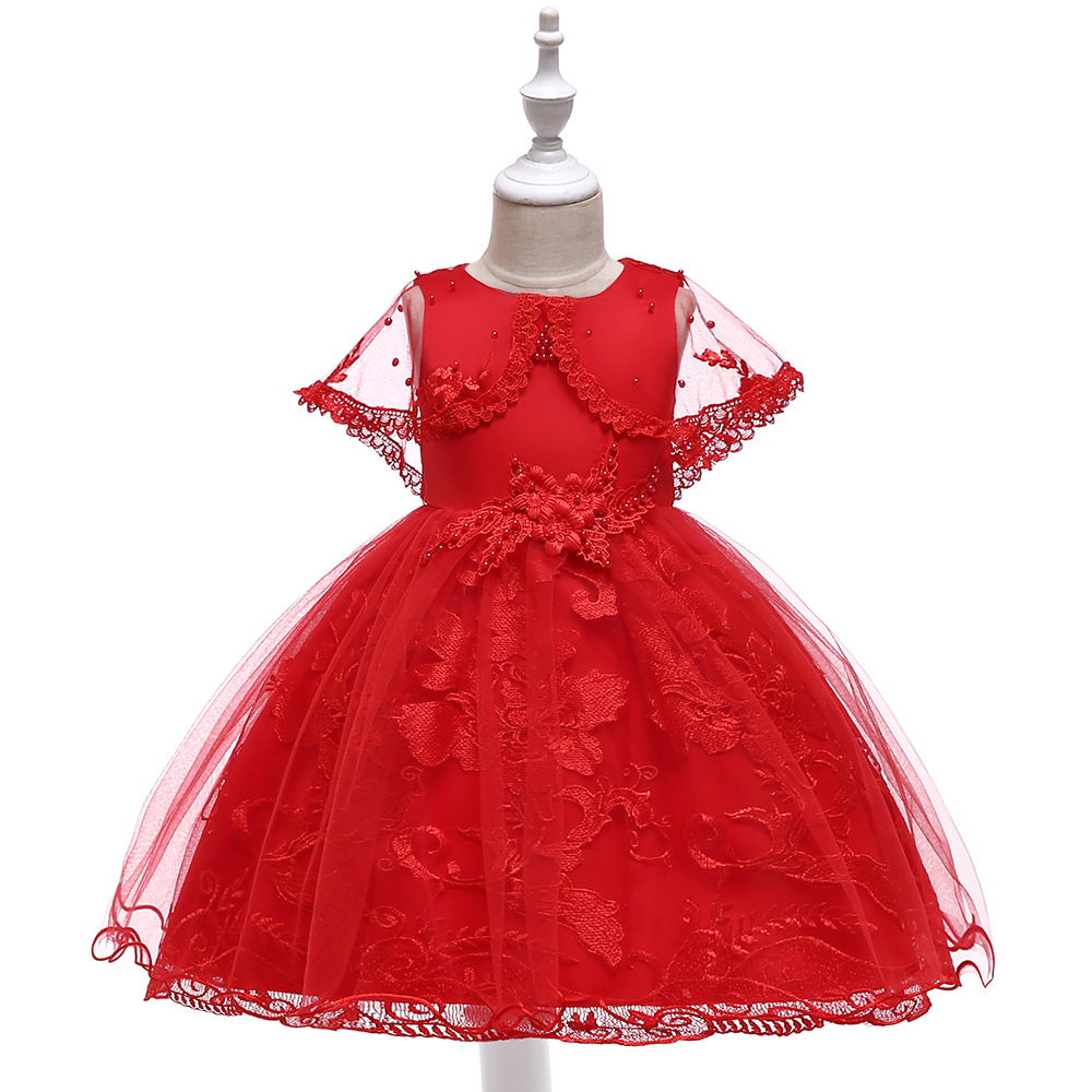 Ballgown Red   Flower     Girl     Dresses   For Wedding Formal Birthday Princess Party   Dresses   2019 with Wrap
