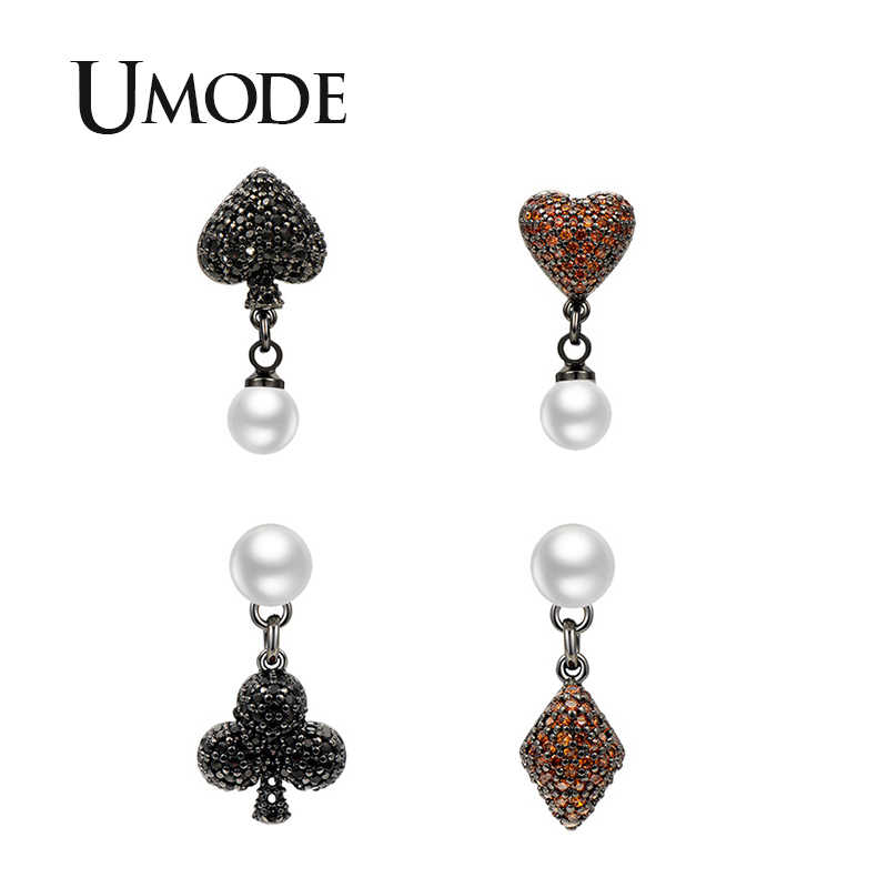 UMODE 2019 New Crystal Poker Design Spade&Heart&Club&Square Drop Earrings for Women Fashion White Gold CZ Zircon Jewelry AUE0569