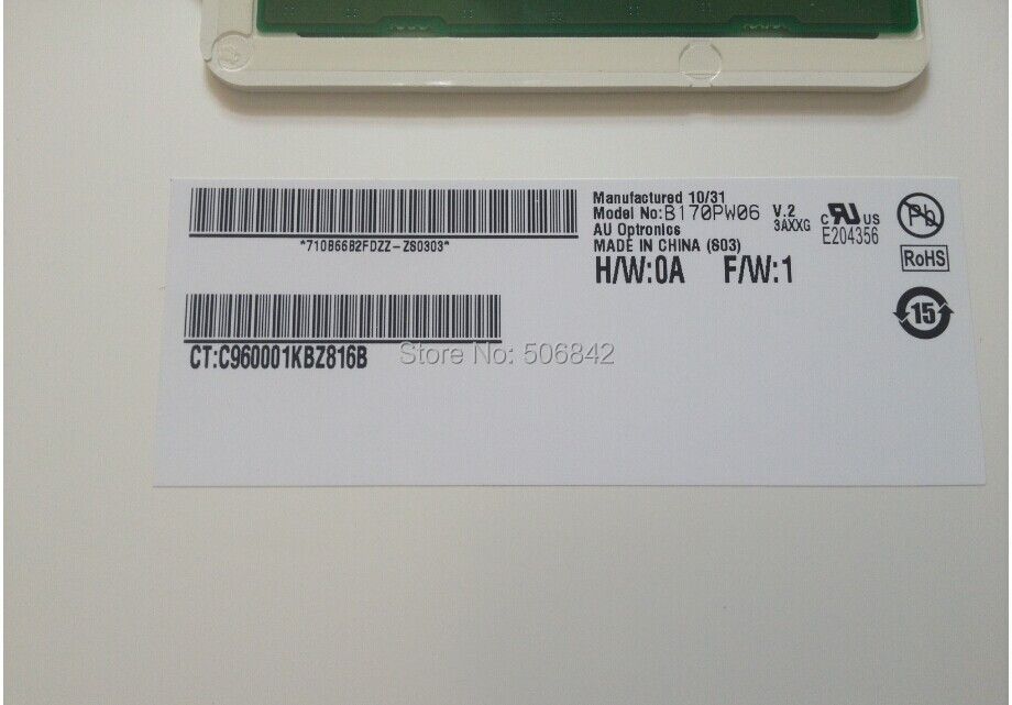 "17,"" ноутбук ЖК-дисплей экран B170PW06 V.2 B170PW06 V2, 1440*900"
