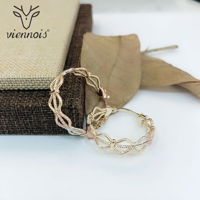Viennois Large Twisted Circle Hoop Earrings For women Round Rose Gold Mix Color  Earrings Fashion Jewelry 87a479dd1960
