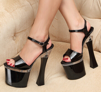 Plus 34 44 Summer Style Sexy Platform Buckle Sandals 19cm Ultra High Thick Heel Crystal Shoes