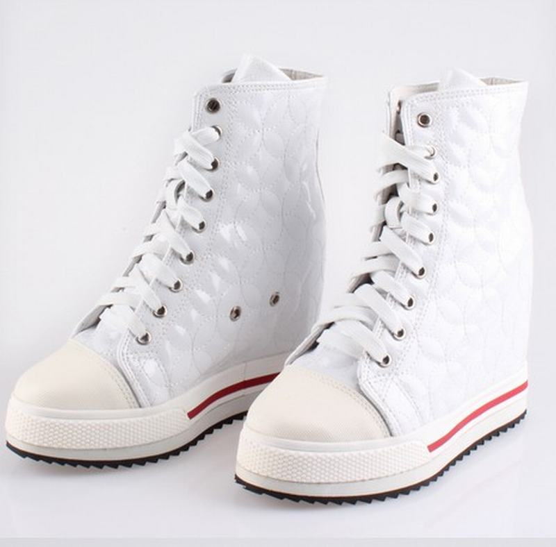 New 2017 women wedge platform hidden high heels lace up high top height increasing ankle boots ladies casual white single shoes 2018 wedge high heels thick soled high top ladies casual shoes women platform canvas shoes hidden wedge heel boots zapatos mujer