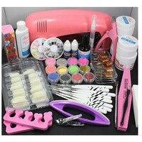 Nail Art Pink UV Lamp Dryer Gel Nail Kit Nail Tools UV Gel Polishes Brushes Nail