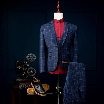 Slim Fit Groom Tuxedo 13 Styles Groomsmen Notch Lapel Wedding/Dinner Suits Best Man Bridegroom (Jacket+Pant+Vest)B351
