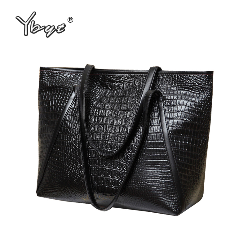 YBYT brand 2016 new fashion casual glossy alligator totes large capacity ladies simple shopping handbag PU leather shoulder bags