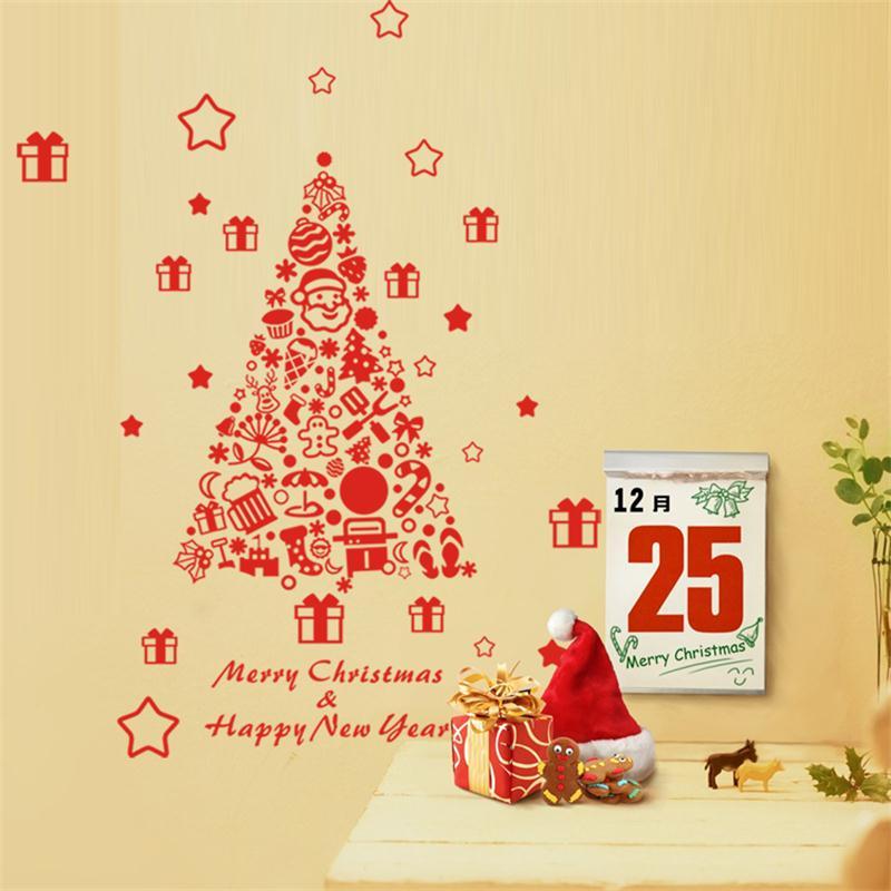 6 designs Merry Christmas Santa Claus Christmas Tree words wall ...