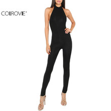 COLROVIE Women Plain Black jumpsuit Slim Backless Sexy Ladies Summer Sleeveless Round Neck Bodycon Sheath Jumpsuit