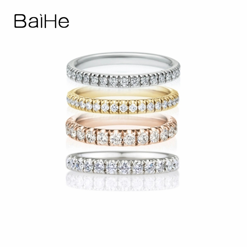 BAIHE Solid 14K Yellow Gold(AU585) About 0.52ct H/SI Round Full Cut 100% Genuine Natural Diamonds Engagement Trendy Fashion RingBAIHE Solid 14K Yellow Gold(AU585) About 0.52ct H/SI Round Full Cut 100% Genuine Natural Diamonds Engagement Trendy Fashion Ring